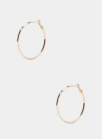 Textured Hoop Earrings, Gold, hi-res