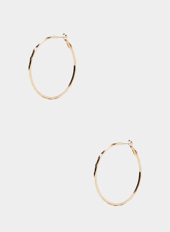 Textured Hoop Earrings, Gold, hi-res