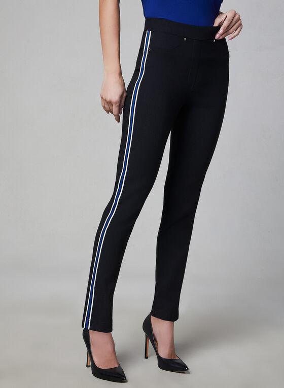 Slim Leg Contrast Trim Pants, Black
