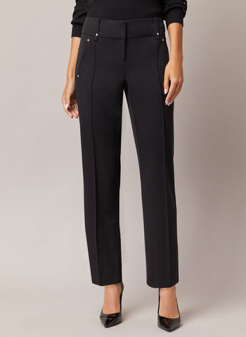 Lauren Petite Straight Leg Pants, Black,  pants, straight, lauren, petites, pleats, bi-stretch, pockets, fall winter 2020