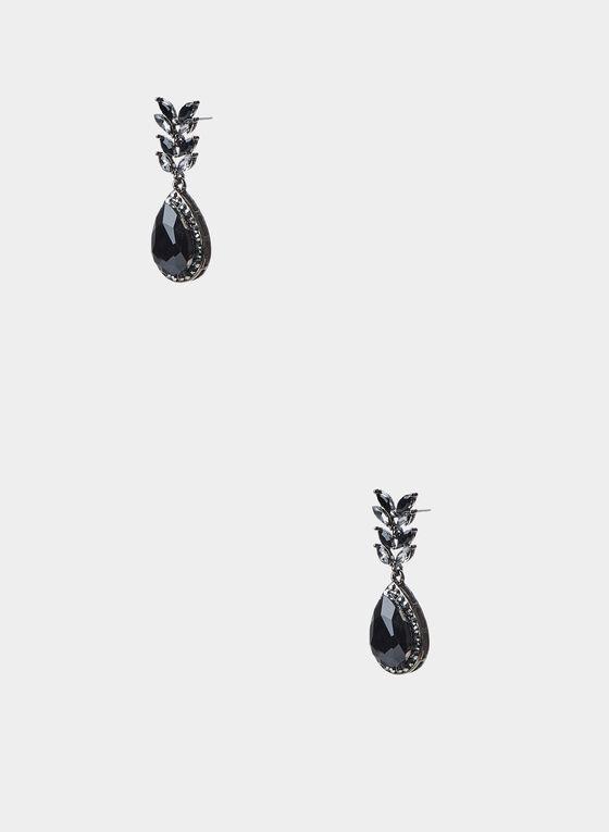 Black Stone Drop Earrings, Black