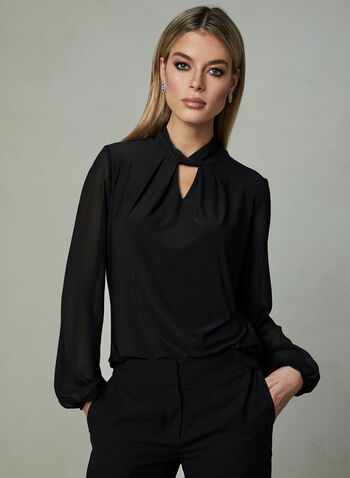 Chiffon Sleeve Mock Neck Top, Black, hi-res