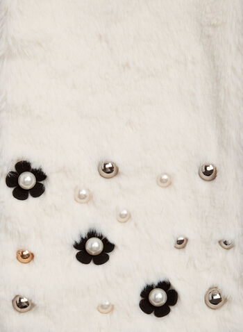 Beaded Faux Fur Scarf, Off White, hi-res