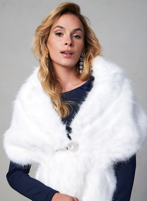 Faux Mink Stole, Off White