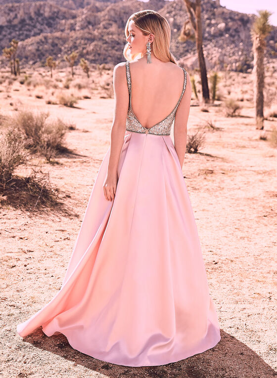 Terani Couture - Embellished Satin Gown, Pink, hi-res