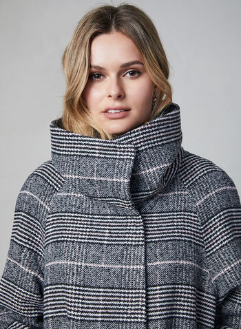 Marcona - Printed Wool Blend Coat, Grey, hi-res,  fall winter 2019, plaid print, wool blend, oversized collar