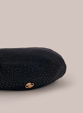 Rhinestone Detail Wool Blend Beret, Black,  hat, accessories, beret, rhinestones, wool, fall winter 2020