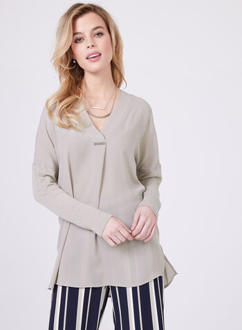 Conrad C – Knit Sleeves Chiffon Blouse, Off White, hi-res