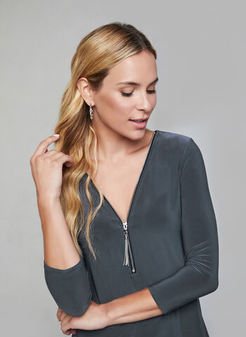 Zipper Front Top, Grey, hi-res,  fall winter 2019, jersey, 3/4 sleeves, zipper