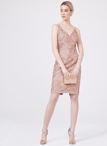 Aidan Mattox - V-Neck Sequin Dress, Pink, hi-res