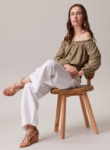 Linen Blend Bardot Neckline Blouse, Green,  blouse, linen, balloon sleeves, bardot, off the shoulder, smocked, spring summer 2020