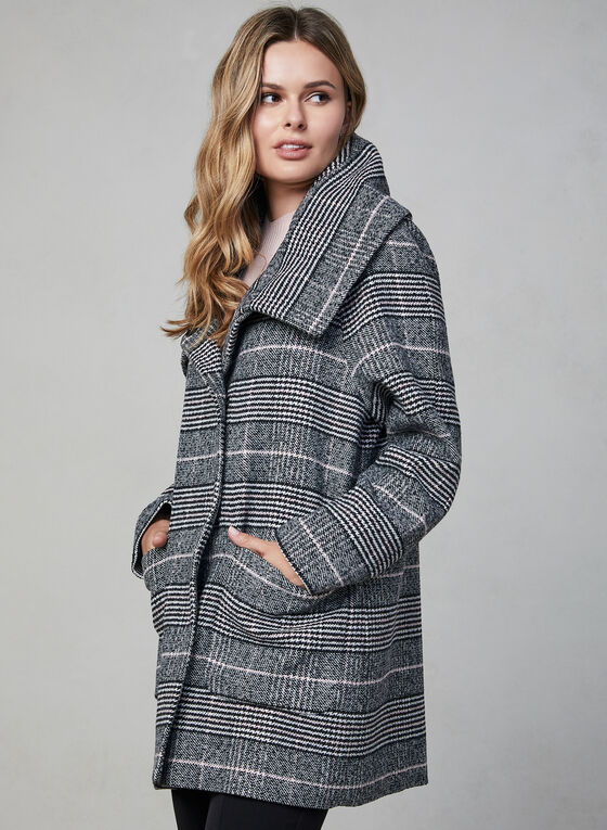 Marcona - Printed Wool Blend Coat, Grey, hi-res