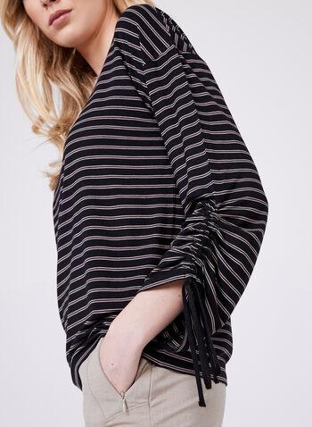 Stripe Print Tie Sleeve Top, Black, hi-res