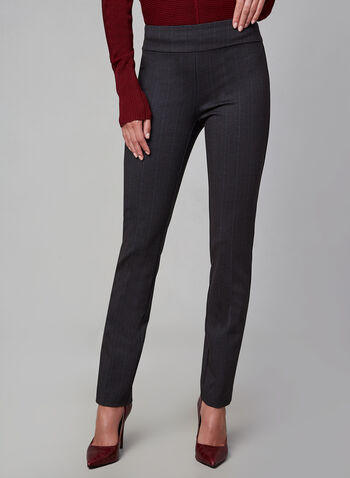 Madison Pinstripe Print Pants, Grey, hi-res,  slim leg, high rise, pull-on, stripe print, slim fit, slim leg, fall 2019, winter 2019