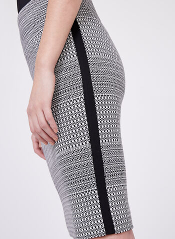 Jacquard Knit Pencil Skirt, Black, hi-res