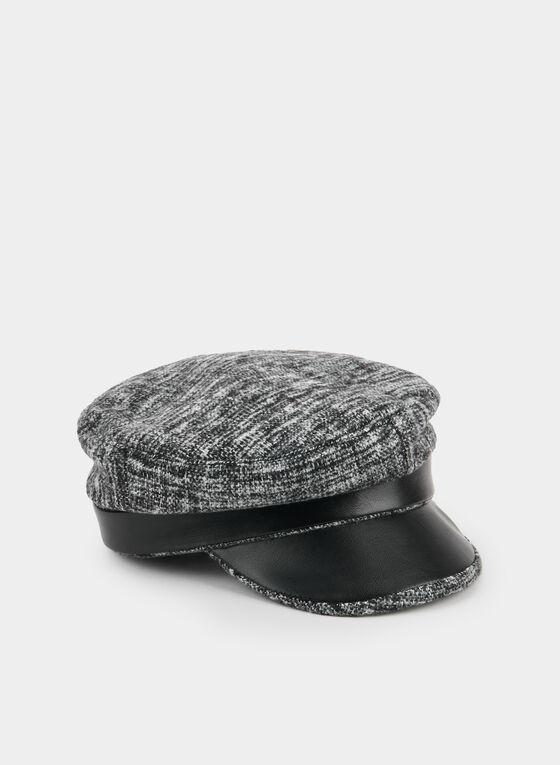 Casquette gavroche en tricot et similicuir, Noir