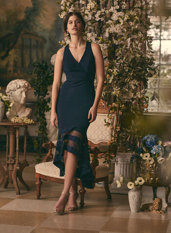 BA Nites - Mesh Detail V-Neck Dress, Blue,  dress, evening, occasion, crepe, mesh, v-neck, sleeveless, sheath, high low, spring summer 2020