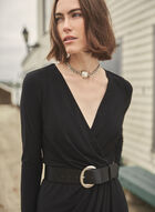Joseph Ribkoff - Belted Faux Wrap Dress, Black