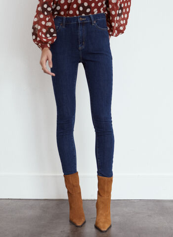 Yoga Jeans - Essential Slim Leg Denim, Blue,  fall winter 2021, fall 2021, Yoga Jeans, the yoga jean, denim, pants, stretch denim, slim leg, stretch, 5 pockets, zip fly, button closure, belt loops, stitching, pockets, rivets, Rachel skinny, skinny jeans