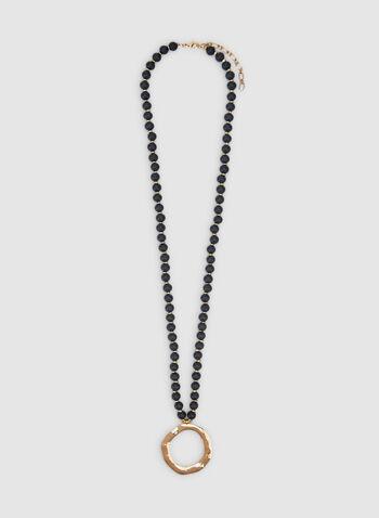 Collier à billes et anneau, Vert, hi-res,  automne hiver 2019, pendentif, collier, bijoux, accessoires