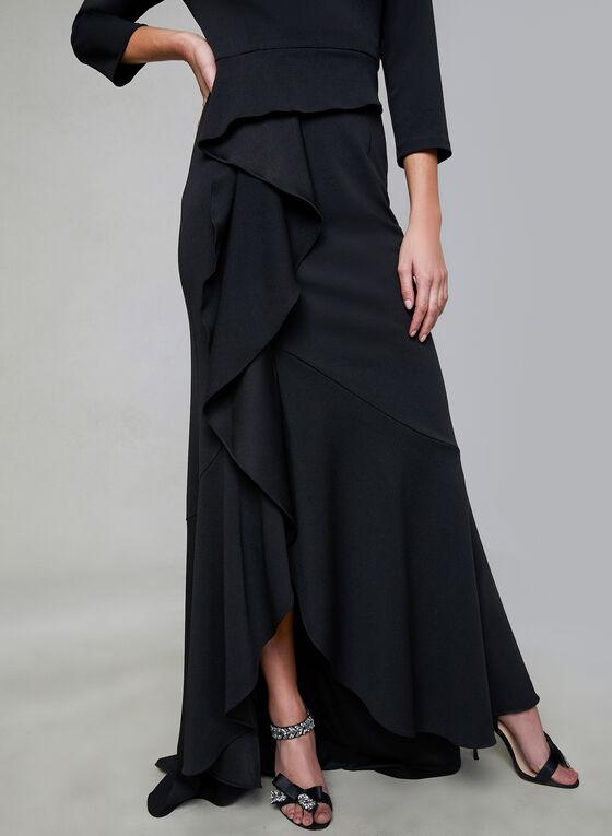 Adrianna Papell - Robe en crêpe à volants et col carré, Noir, hi-res