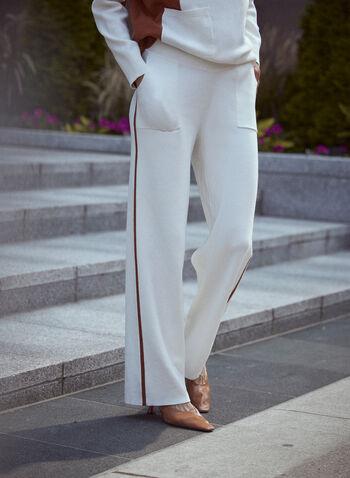 Pantalon à enfiler à bande contrastante, Blanc cassé,  pantalons, bas, à enfiler, pull-on, taille élastique, jambe large, poches appliquées, bandes contrastantes, tricot, doux, détente, automne hiver 2021