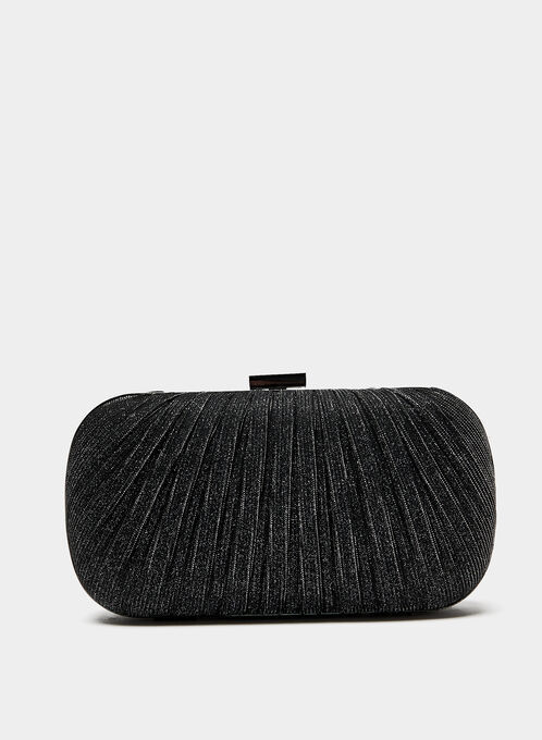 Pleated Glitter Box Clutch, Grey, hi-res