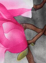 Oblong Bird & Floral Print Scarf, Grey, hi-res