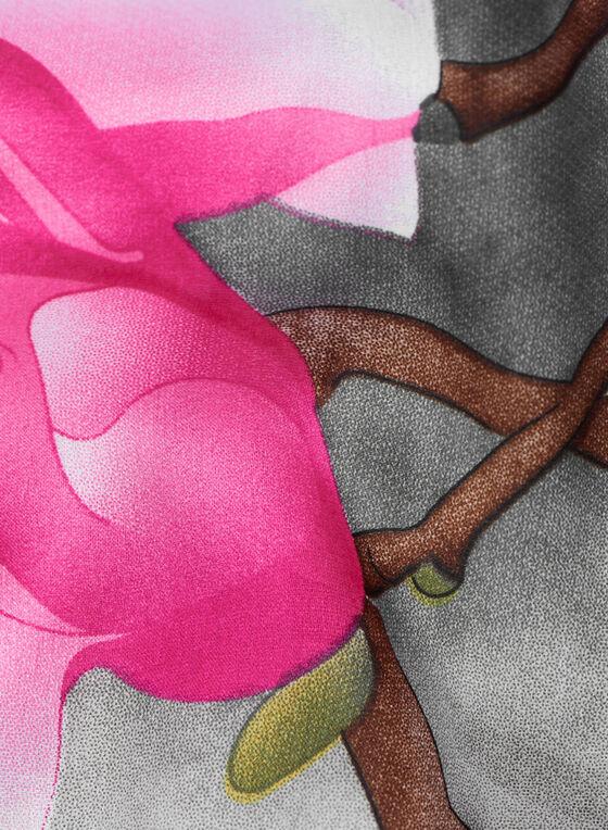 Birds & Branches Print Scarf, Grey, hi-res
