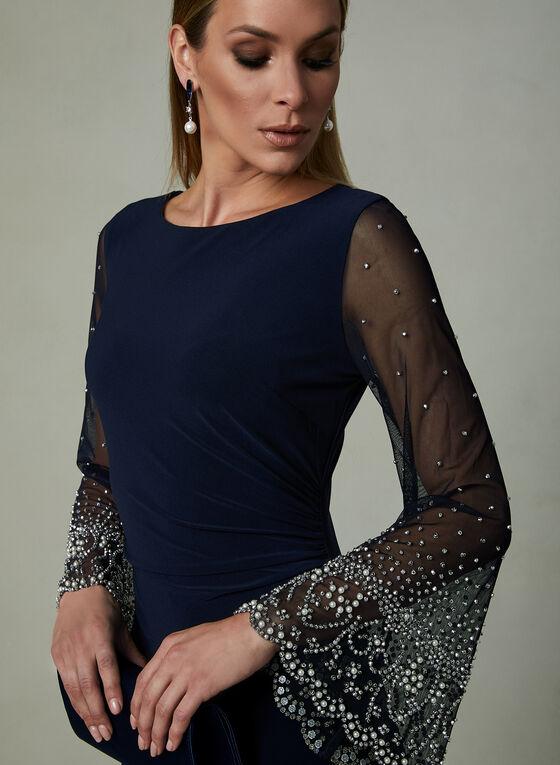 Cachet - Beaded Illusion Sleeve Dress, Blue
