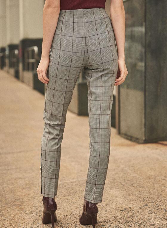 Plaid Print Slim Leg Pants, Black