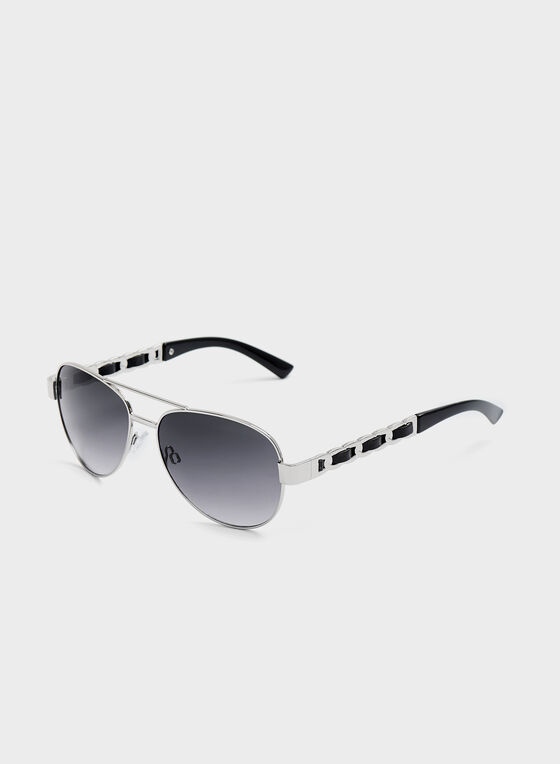 Chainlink Arm Aviator Sunglasses , Silver, hi-res