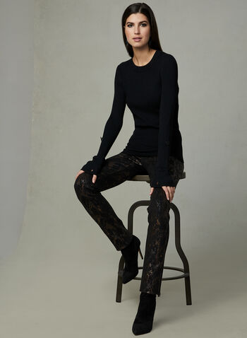 Ribbed Knit Pull, Black, hi-res