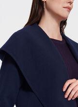 Open Front Hooded Coat, Blue, hi-res