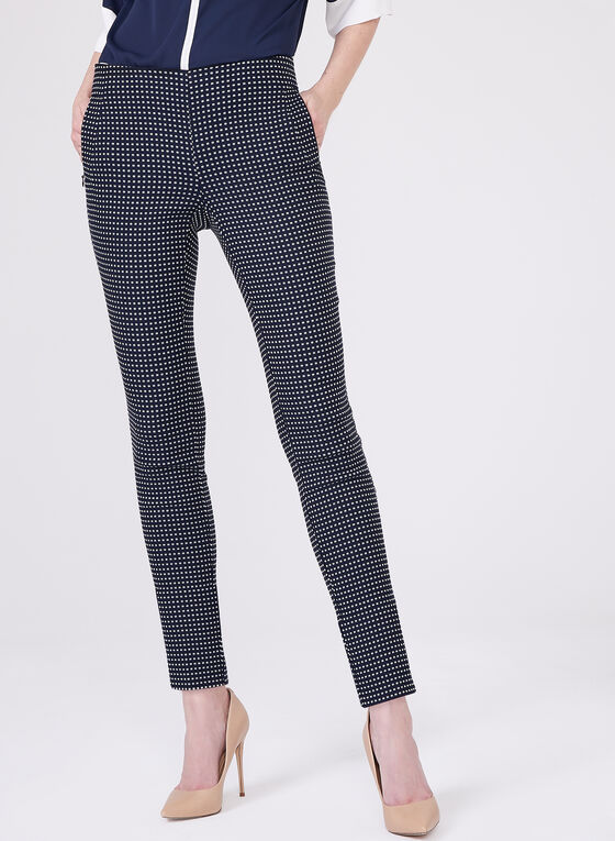 Amber Slim Leg Geometric Print Pants, White, hi-res