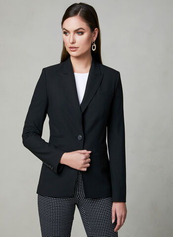 Notched Collar Blazer, Black, hi-res,