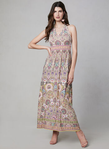 Mandala Print Maxi Dress, Yellow, hi-res