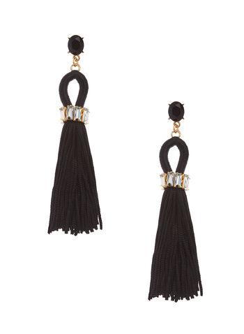 Crystal & Tassel Earrings, Black, hi-res