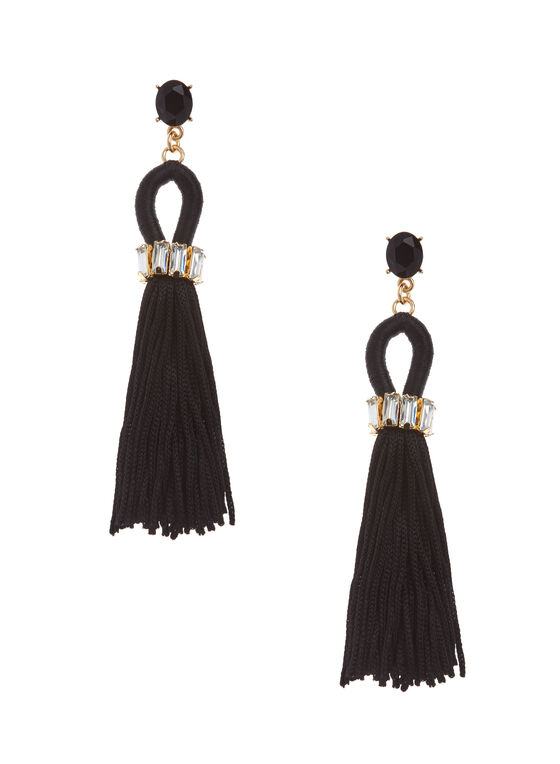 Crystal & Tassel Earrings, Black, hi-res