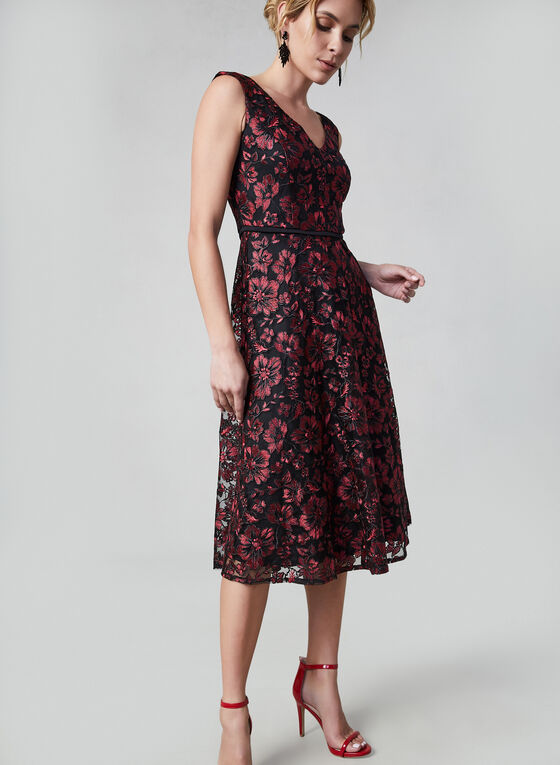 Embroidered Mesh Dress, Red