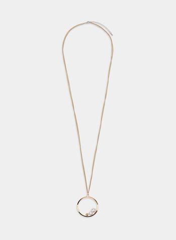 Collier à pendentif anneau, Blanc cassé, hi-res