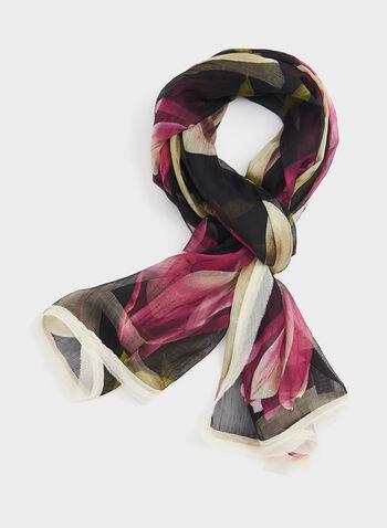 Foulard léger à imprimé floral, Noir, hi-res