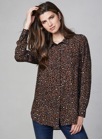 Leopard Print Blouse, Brown, hi-res,  leopard print, blouse, top, long sleeves, print, fall 2019, winter 2019