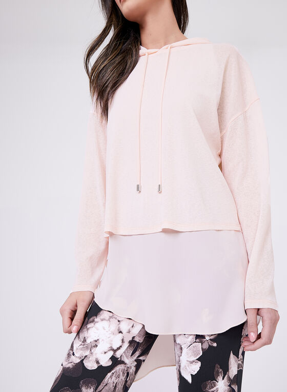 Frank Lyman - Layered Hooded Top, Pink, hi-res