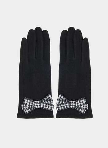 Houndstooth Bow Gloves, Black, hi-res,