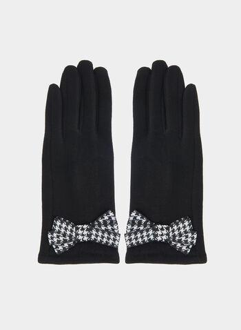 Gants à détail nœud en pied-de-poule, Noir,  gants, nœud, pied-de-poule, automne hiver 2019