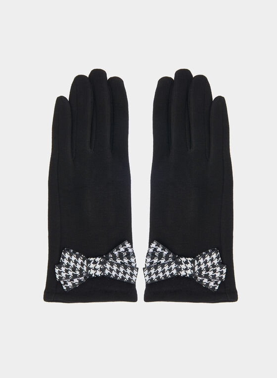 Houndstooth Bow Gloves, Black