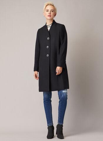 Manteau mi-long boutonné, Brun,  manteau, laine mélangée, col v, poches, mi-long, automne hiver 2020