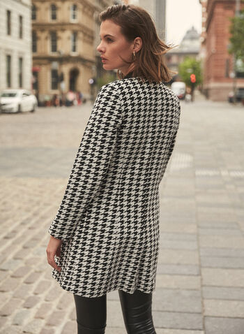 Houndstooth Print Redingote, Black,  jacket, redingote, houndstooth, lapel collar, faux leather, long sleeve, Fall 2020