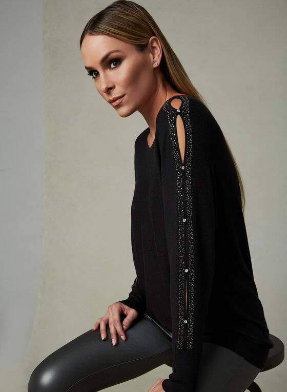 Alison Sheri - Rhinestone Detail Sweater, Black, hi-res